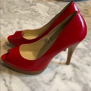 """MOSSIMO RED HEELS Sz 10. 4-1/2"""" heel, open toe"""